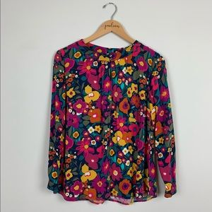 Talbots 70s floral print long sleeve top mp